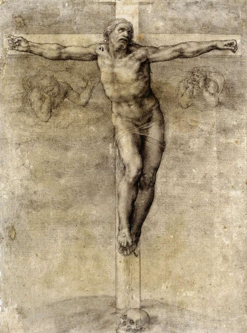 crucifixion-michelangelo-chalk-c154