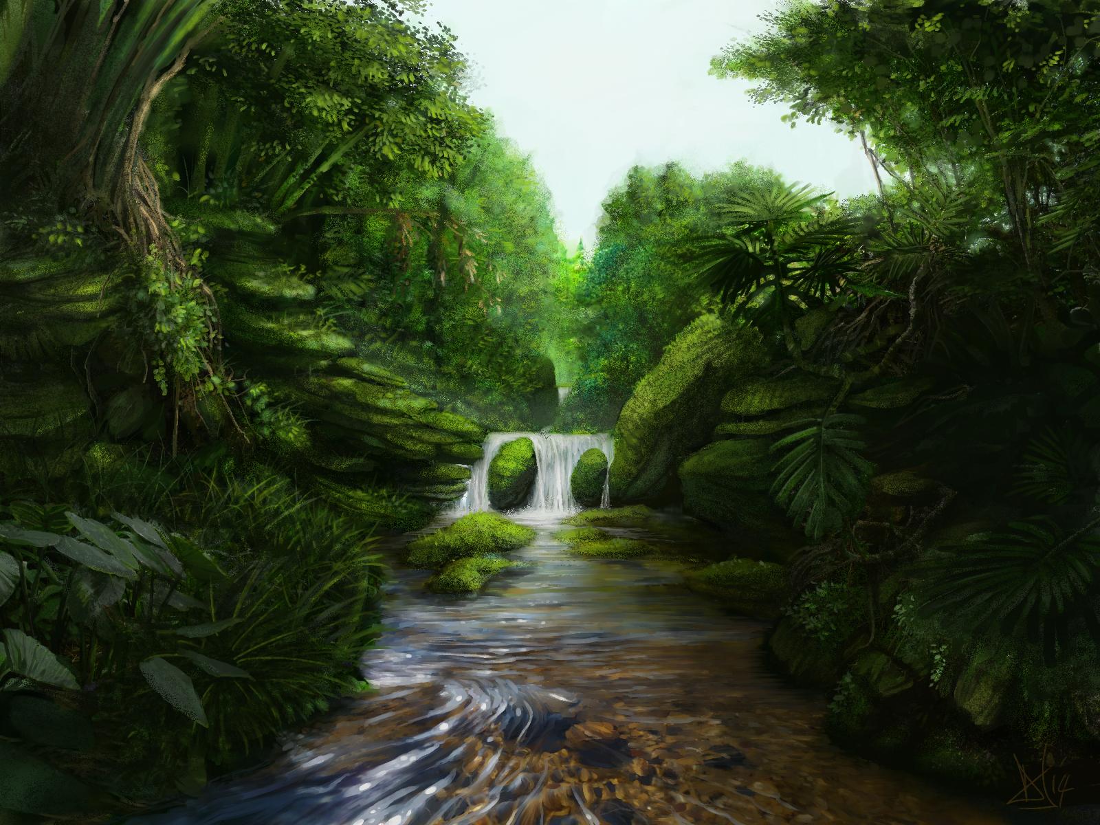 jungle_waterfall_2_of_3_by_sketchbookuniverse-d76cgxz