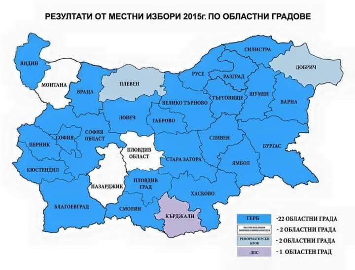 ГЕРБ взе 11 от 14-те областни града