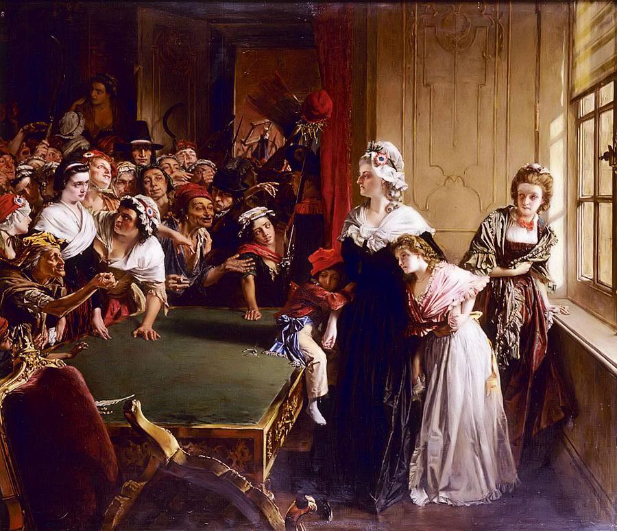 Мария-Антоанета и децата ѝ пред разгневената тълпа, нахлула в Тюйлери на 20 юни 1792.