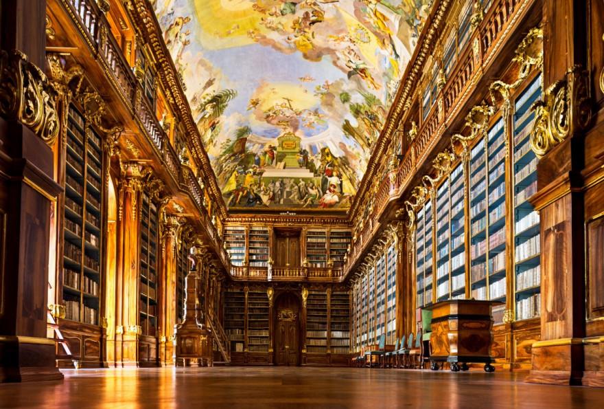 """Историческата библиотека на манастира """"Страхов"""" в Прага, Чехия"""