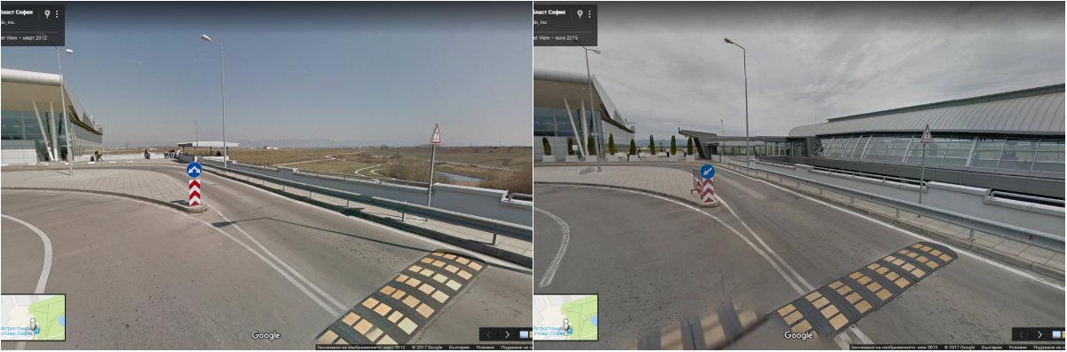 Метростанция Летище София -сравнението от днес е със 2015-та..