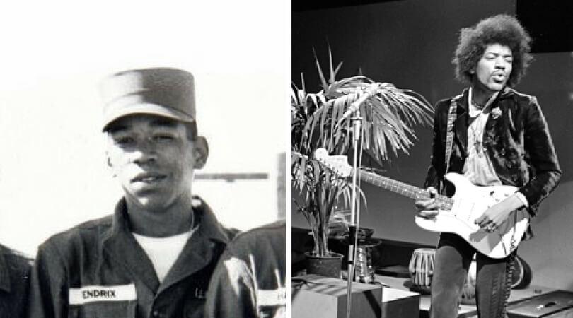 На снимката в ляво:  Джими Хендрикс в американската армия през 1961 г. Вдясно: Джими Хендрикс участва в холандско телевизионно шоу през 1967 г. (Снимка: A. Vente)