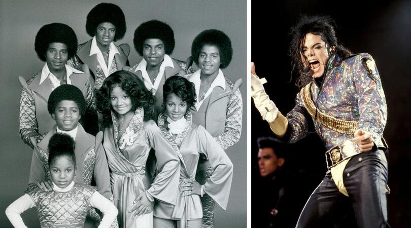 На снимката в ляво:  Майкъл Джексън през 1977 г. (последният ред, вторият отляво). Вдясно: Джаксън на сцената през 1992 г.