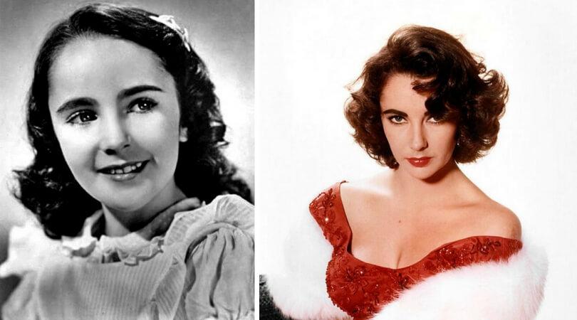 На снимката в ляво:  Елизабет Тейлър като дете. Вдясно: Елизабет Тейлър през 1956 г.