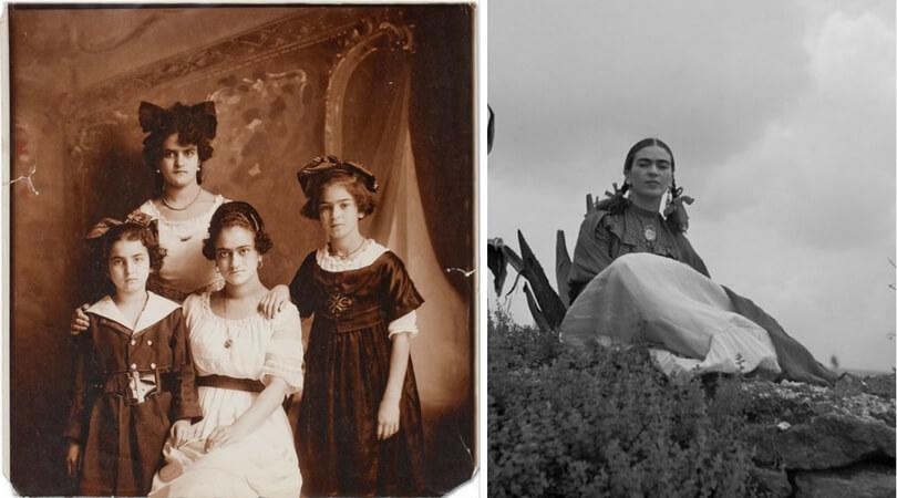 """На снимката в ляво:  Кало (от дясната страна) със сестрите й Кристина, Матилде и Адриана, снимани от баща им през 1916 г. Вдясно:  През 1937 г. Фрида Кало е фотографирана от Тони Фрисел за """"Vogue""""."""