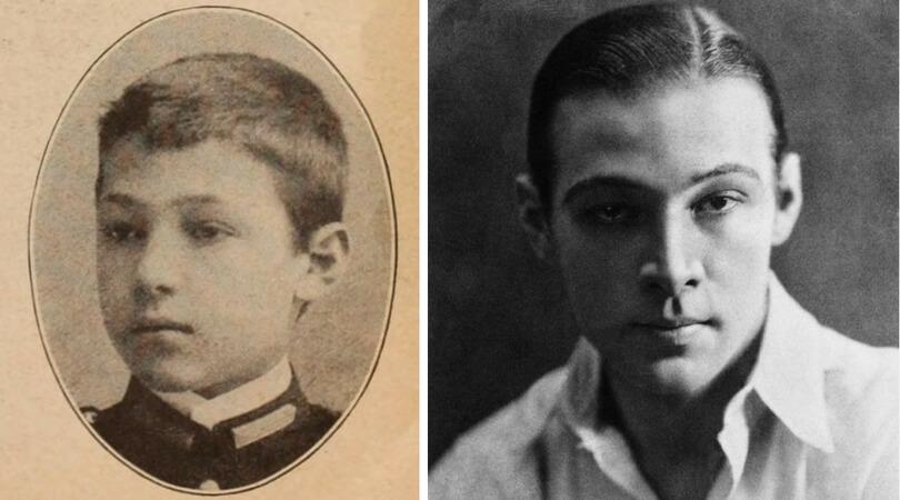 На снимката в ляво:  Рудолф Валентино като дете. Вдясно: Рудолф Валентино през 1919 г.