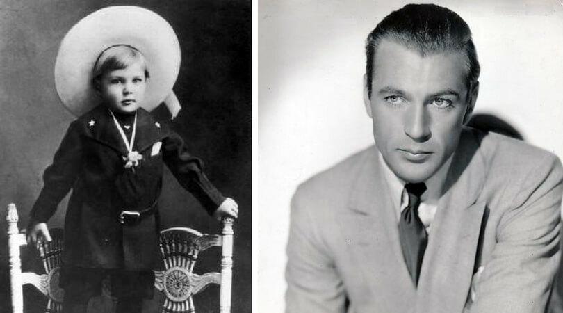 На снимката в ляво:  Гари Купър като момче през 1903 г. Вдясно: Гари Купър през 1936 г.