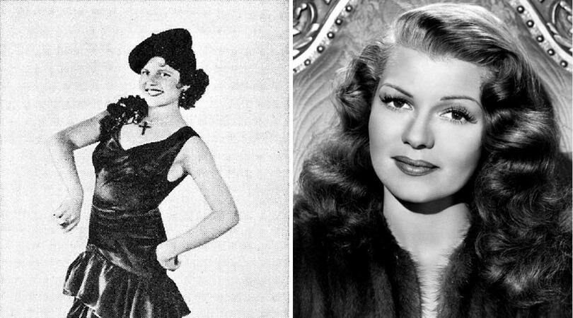 """На снимката в ляво:  Рита Хейуърт на 12-годишна възраст. Вдясно: Оригинален рекламен портрет на Рита Хейуърт от филма """"Down to Earth"""" (1947)"""