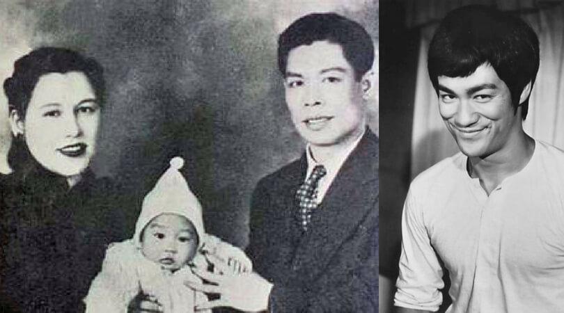 """На снимката в ляво:  Брус Лий с родителите си. Вдясно: Снимка на Брус Ли от филма """"Fists of Fury"""" (1973)."""