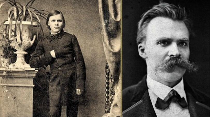 На снимката в ляво:  Фридрих Ницше като дете. Вдясно: Ницше в Базел през 1875 г.