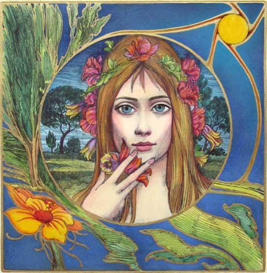 """Картина """"Момичето с цветята"""" Снимка: ernstfuchs-gallery.com"""