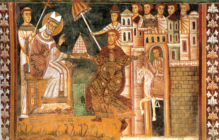 Папа Силвестър І и император Константин Велики в средновековен стенопис