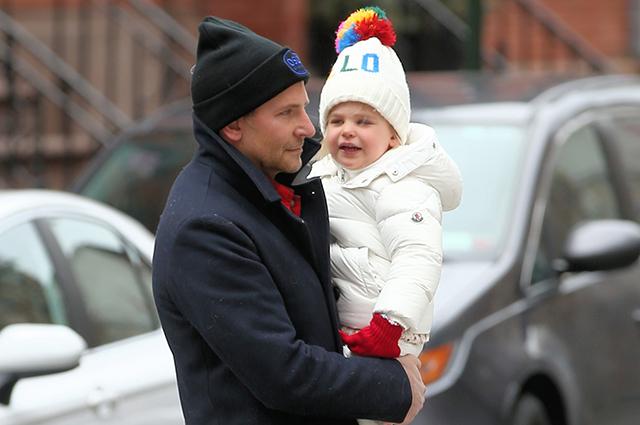 Actor Bradley Cooper And His Daughter Lea De Seine Shayk Cooper Walk To Brunch In West Village In New York City